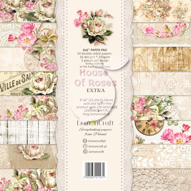 Lemoncraft - Paper Collection Set 15,2 x 15,2 cm - House of Roses EXTRA