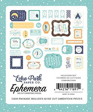 Echo Park - Hello Baby - It's A Boy - Ephemera Die Cuts