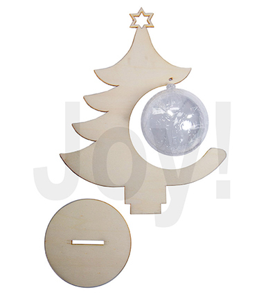 Houten Kerstboom Met Transparante Bal