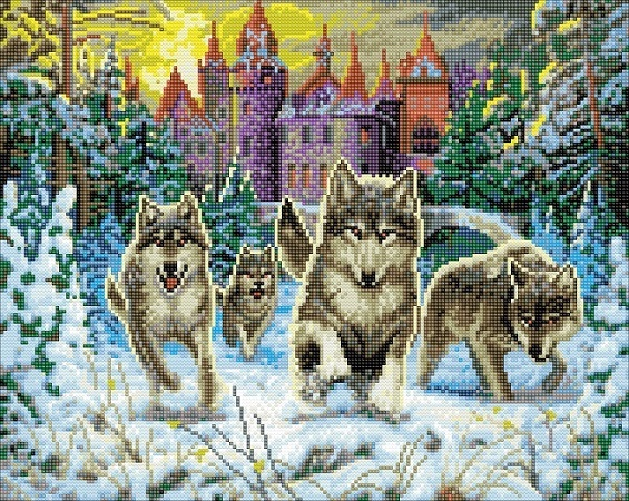 Diamond Painting - Running Wolves - 40 x 50 cm