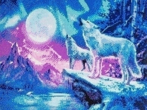 Diamond Painting - Wolven In Noorderlicht - 40 x 50 cm