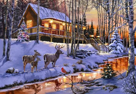 Diamond Painting - Led - Highland Cabin - 40 x 50 cm