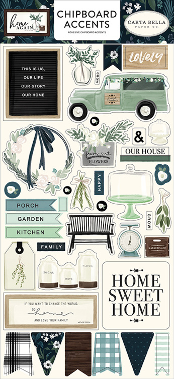 Carta Bella - Home Again - Chipboard Accents