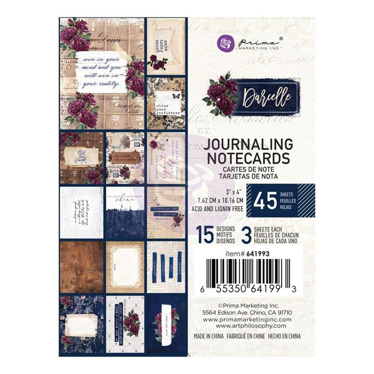 "Prima Marketing - Darcelle - Journaling Notecards 3""x4"" (45/pkg)"