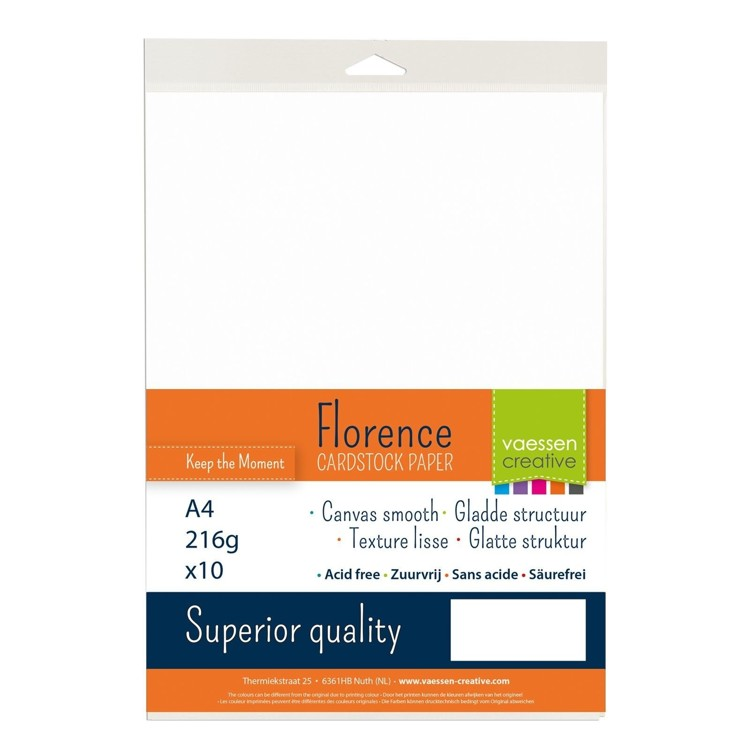 Florence Cardstock - Smooth (glad) 216 gr) - A4 10 vel - White