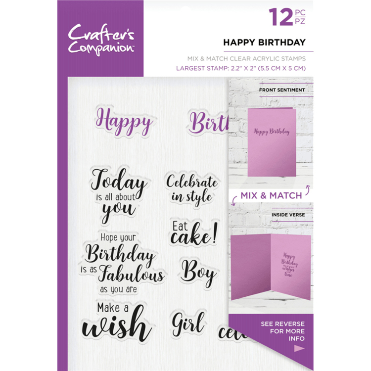 Crafter's Companion - Sentiment & Verses Clearstamps - Happy Birthday