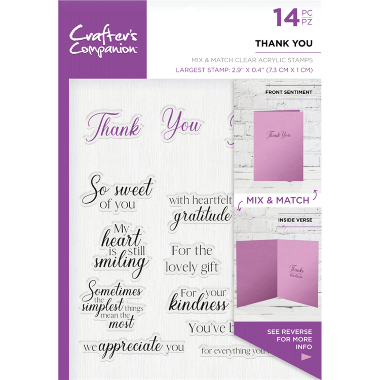 Crafter's Companion - Sentiment & Verses Clearstamps - Thank You