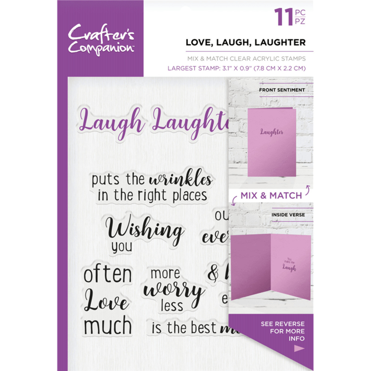 Crafter's Companion - Sentiment & Verses Clearstamps - Love, Laugh, Laughter