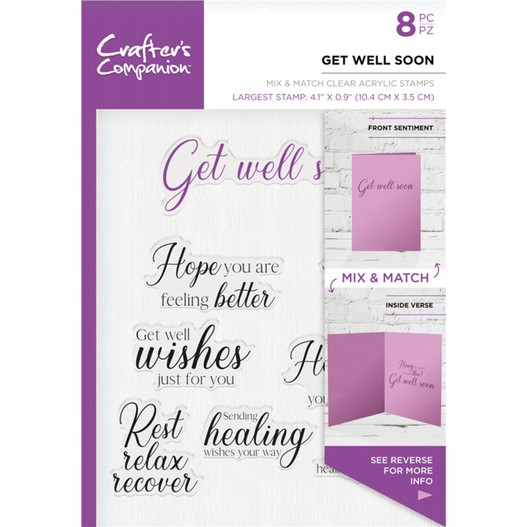 Crafter's Companion - Sentiment & Verses Clearstamps - Get Well