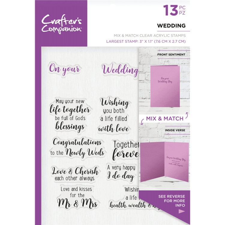 Crafter's Companion - Sentiment & Verses Clearstamps - Wedding