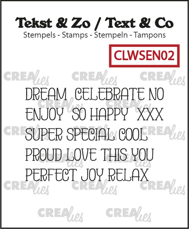 Crealies - Clearstamps Teks & Zo - Word strips Dream