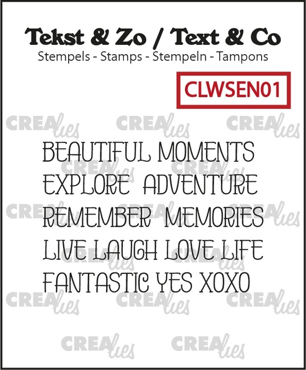 Crealies - Clearstamps Teks & Zo - Word strips Moments