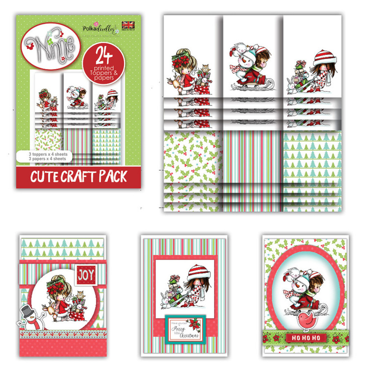 Polkadoodles - Winnie Winter Wishes - Cute Craft Topper Pack