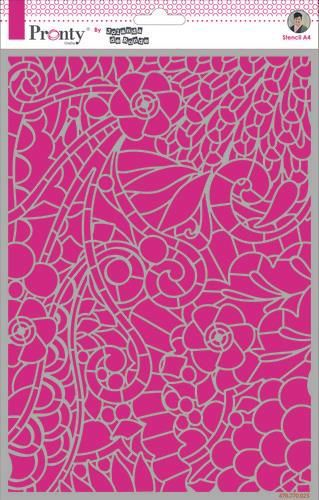 Pronty by Jolanda de Ronde - Mask stencil - Background Floral Swirl - A4