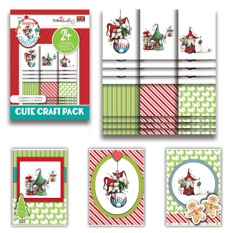 Polkadoodles - Gnome For Christmas - Gnome Ho Ho - Cute Craft Topper Pack