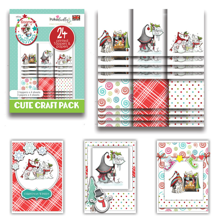 Polkadoodles - Gnome For Christmas - Gnome Xmas Fun - Cute Craft Topper Pack