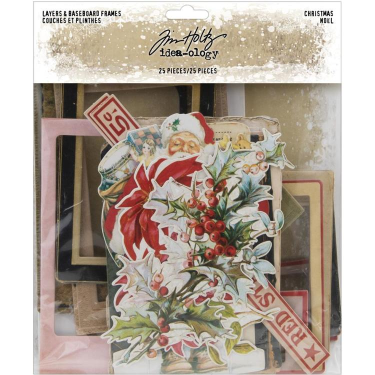 Tim Holtz - Idea-ology - Layers & Baseboard Frames - Christmas (25 Pieces)