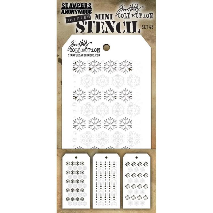 Tim Holtz - Mini Layered Stencil Set 3/Pkg - Set #45