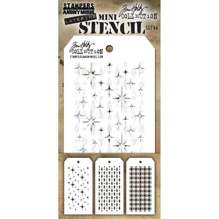 Tim Holtz - Mini Layered Stencil Set 3/Pkg - Set #44