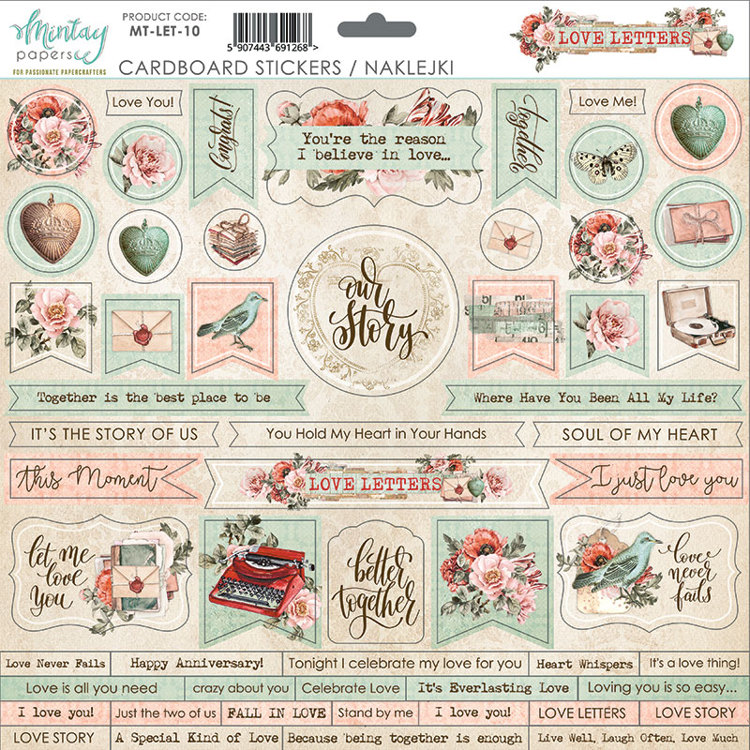 PRE-ORDER 2 - Mintay Papers - Love Letters - MT-LET-10 (CARDBOARD STICKERS)