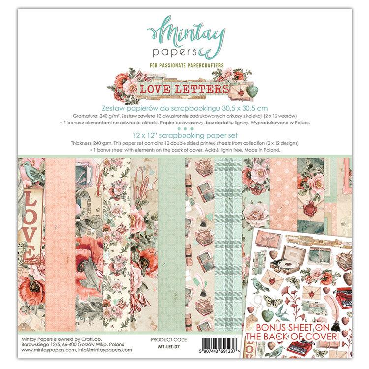 PRE-ORDER 2 - Paperpad Mintay - Love Letters 30,5 x 30,5 cm - MT-LET-07