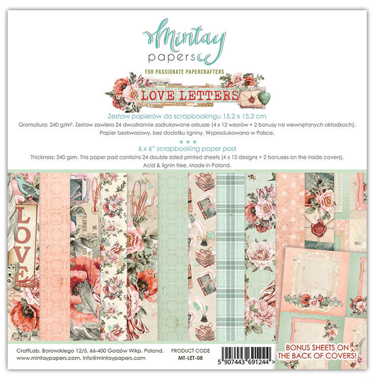 PRE-ORDER 2 - Paperpad Mintay - Love Letters 15,2 x 15,2 cm - MT-LET-08