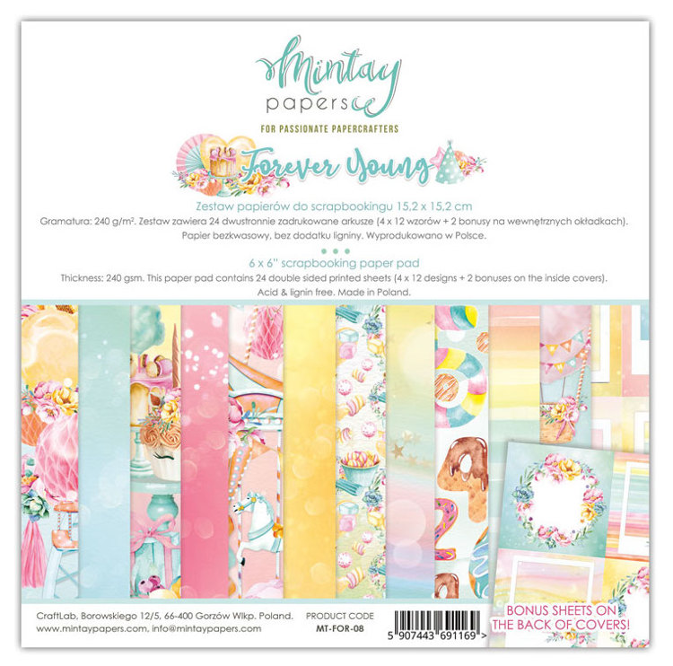 PRE-ORDER 2 - Paperpad Mintay - Forever Young 15,2 x 15,2 cm - MT-FOR-08