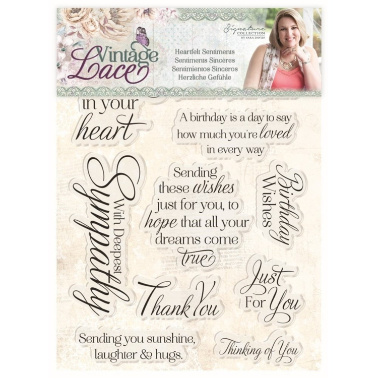 Crafter's Companion - Vintage Lace Collection - Clearstamp Heartfelt