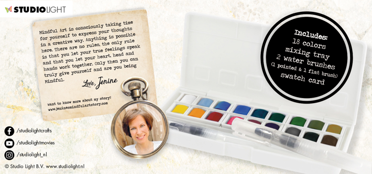 PRE-ORDER 1 - Studio Light - Jenine's Mindful Art Collection - Watercolor Aquarelset 01