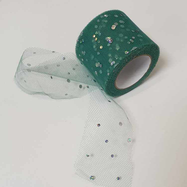 Tule - 5cm breed - Groen met glitters