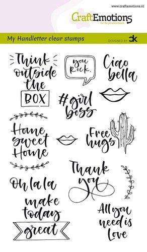Clearstamp CraftEmotions - Handlettering Carla Kamphuis - Quotes EN