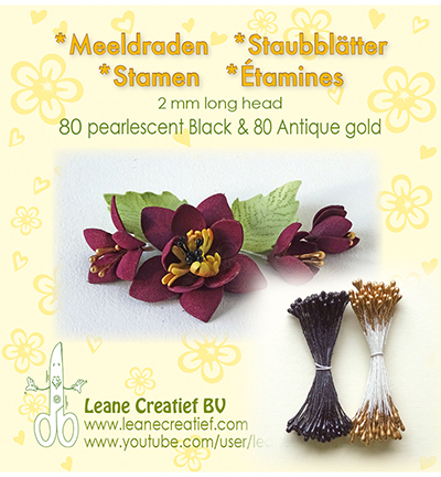 Leane Creatief - Meeldraden 2mm, ±80 matt & 80 - Pearl Black & Antique Gold