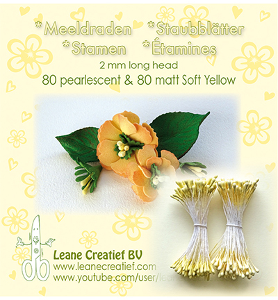 Leane Creatief - Meeldraden 2mm, ±80 st - Matt & Pearl Soft Yellow