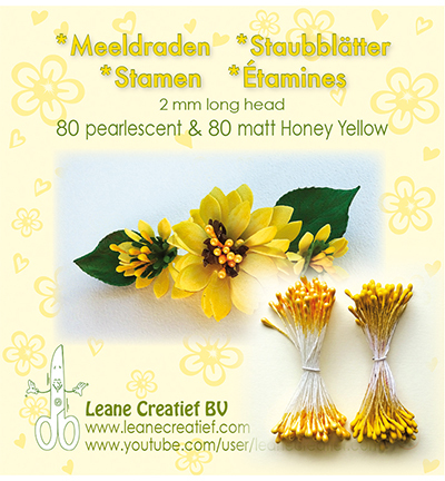 Leane Creatief - Meeldraden 2mm, ±80 st - Matt & Pearl Honey Yellow