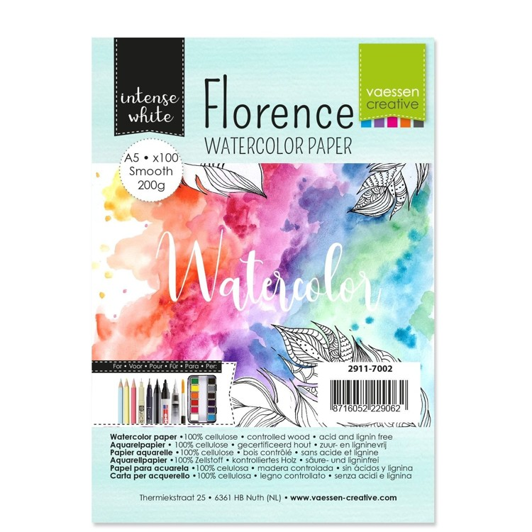 Florence - Aquarelpapier Smooth 200g - Intense White - A5 - (x100)