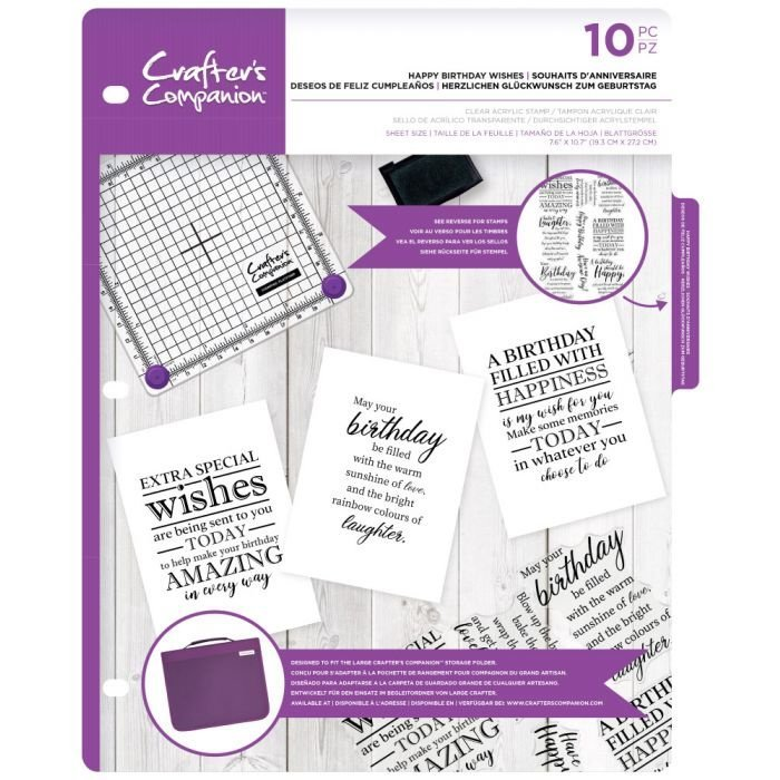 Crafter's Companion -  Clearstamps Sentiment & Verses - Happy Birthday Wishes