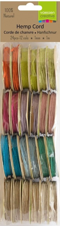 Vaessen Creative - Hemp cord assortiment 12x2 1m - Light colours