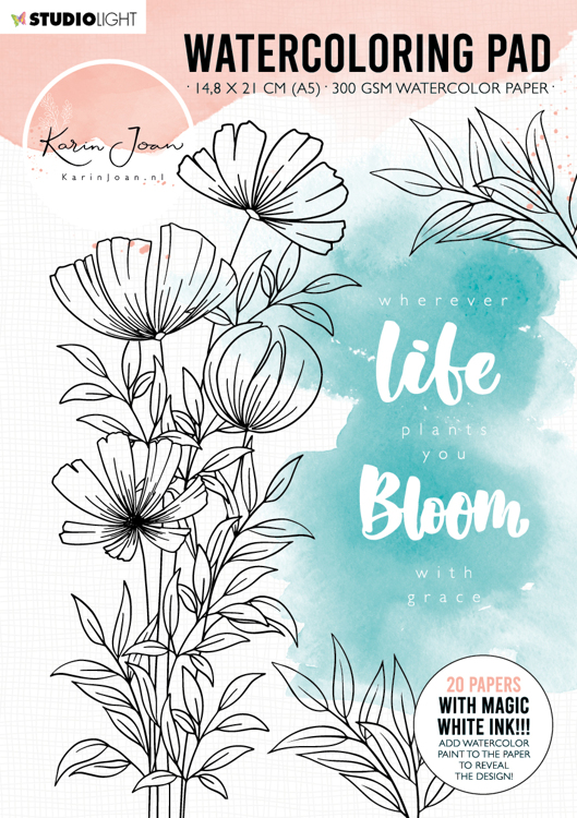 Studio Light - Karin Joan Collection Blooming - Watercoloring Pad A5 - WCPKJ01