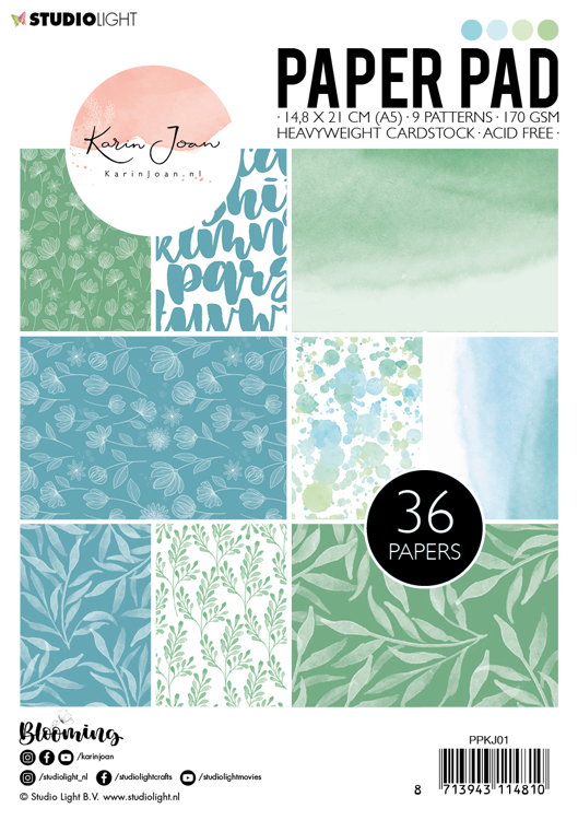 Studio Light - Karin Joan Collection Blooming - Paperpad A5 - Green/Blue PPKJ01