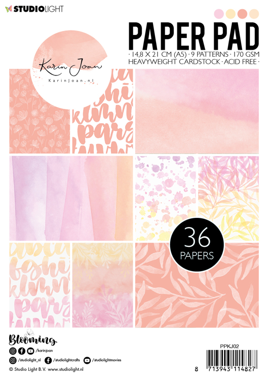 Karin Joan Collection Blooming - Paperpad A5 - Pink/Orange PPKJ02