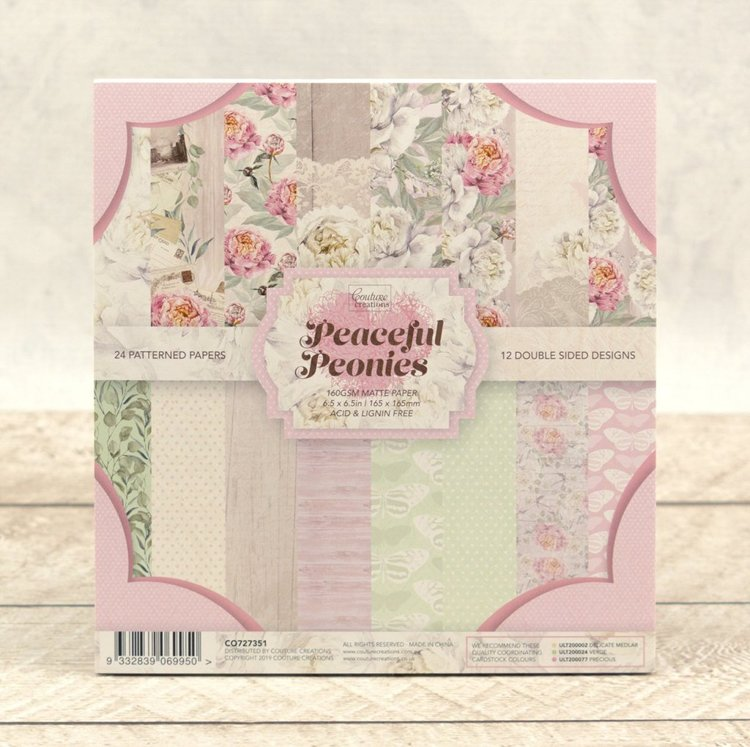 "Paperpad Couture Creations - Peaceful Peonies - 6.5"" x 6.5"""