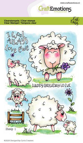 CraftEmotions - Clearstamps A6 - Carla's Creaties - Sheep 1