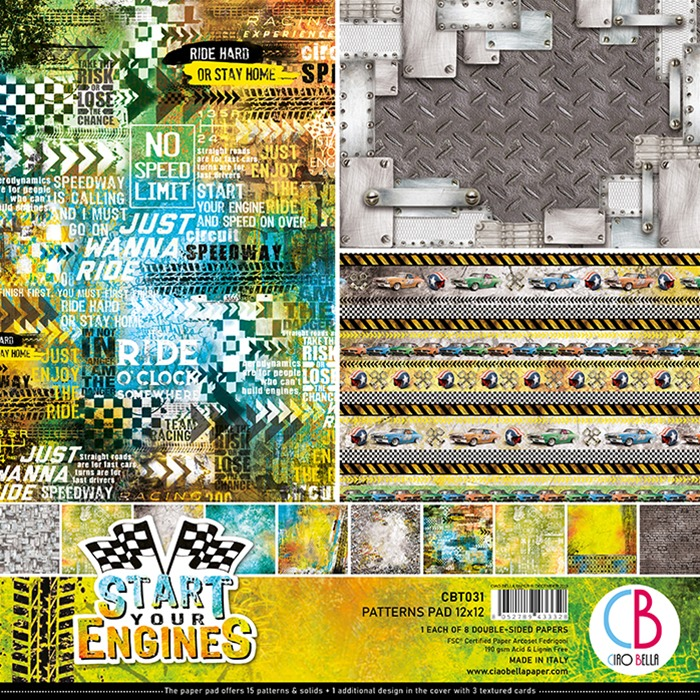 Ciao Bella - Paperpad 30,5 x 30,5 cm - Patterns Pad - Start your Engines