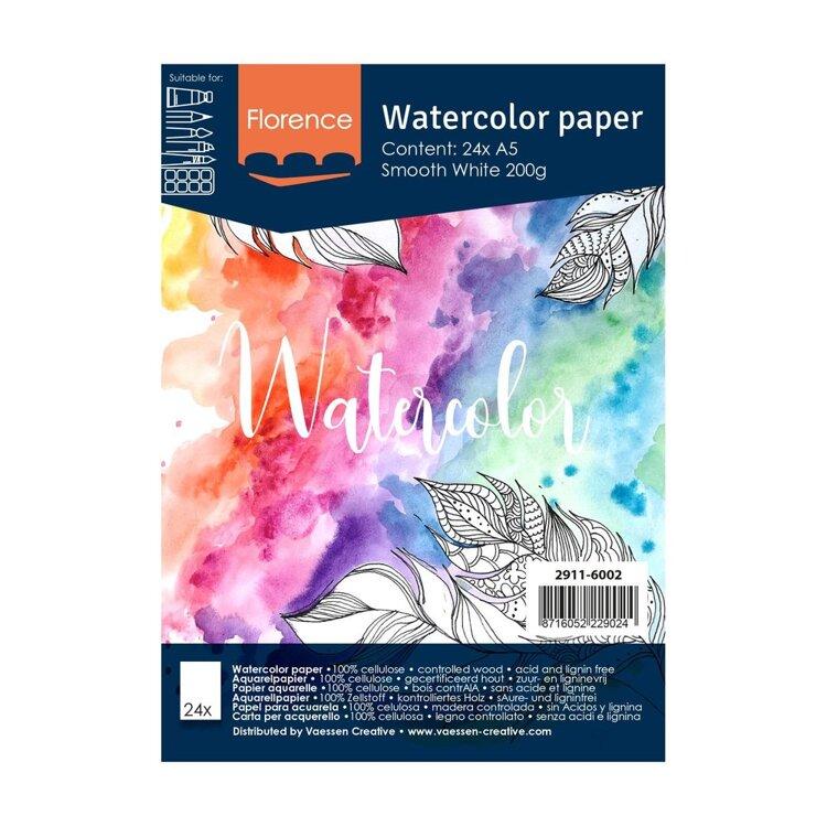 Florence - Aquarelpapier Smooth 200g - Intense White - A5 - (x24)