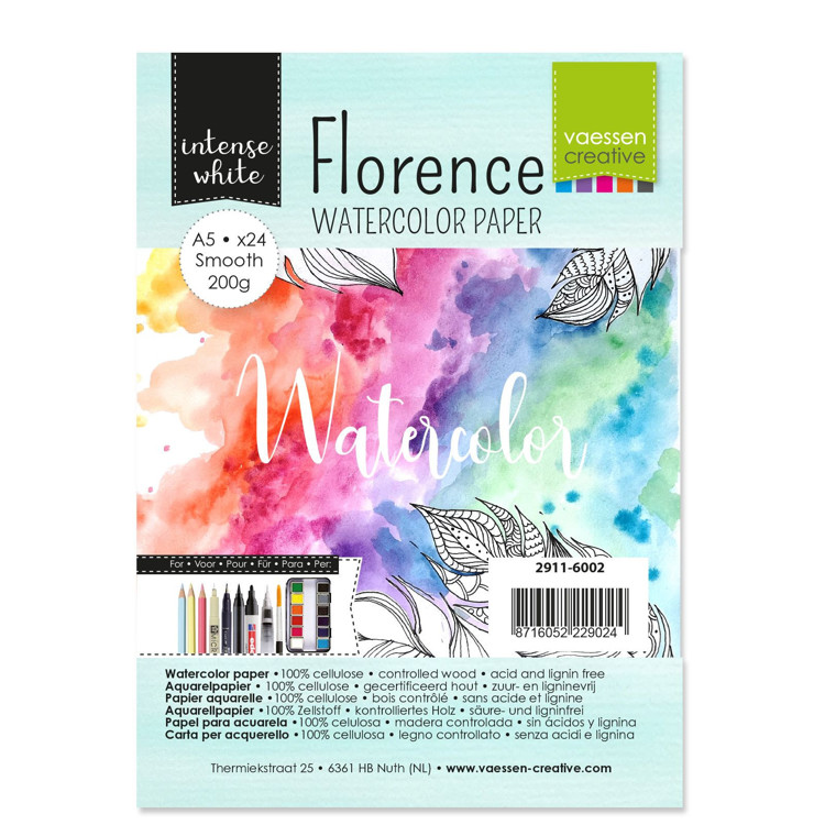 Florence - Aquarelpapier Smooth 200g - Intense White - A5 - (x24)