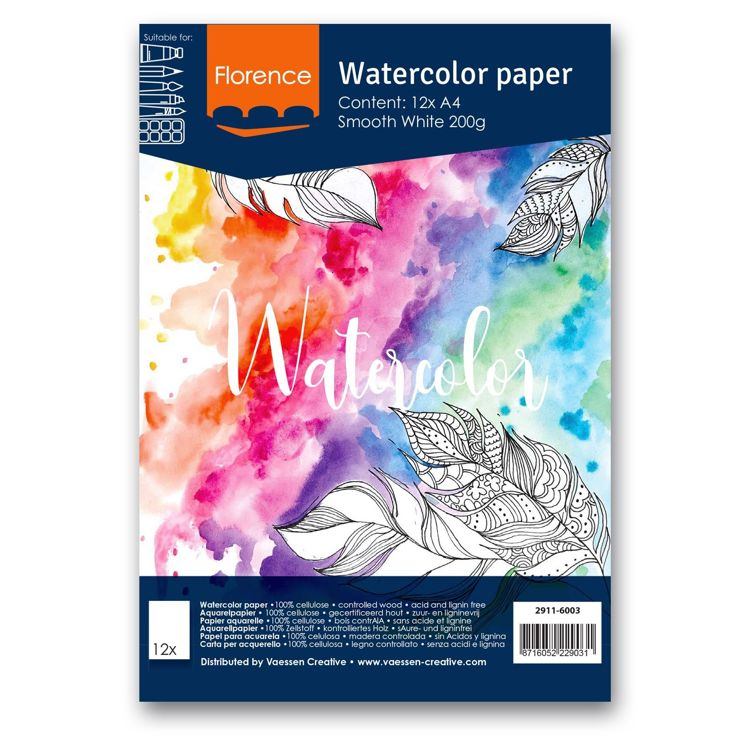Florence - Aquarelpapier Smooth 200g - Intense White - A4 - (x12)