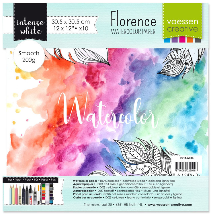 Florence - Aquarelpapier Smooth 200g - Intense White - 30,5 x 30,5 cm - (x10)