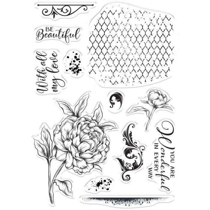 Crafter's Companion - Collage Stamps - Beautiful Peony