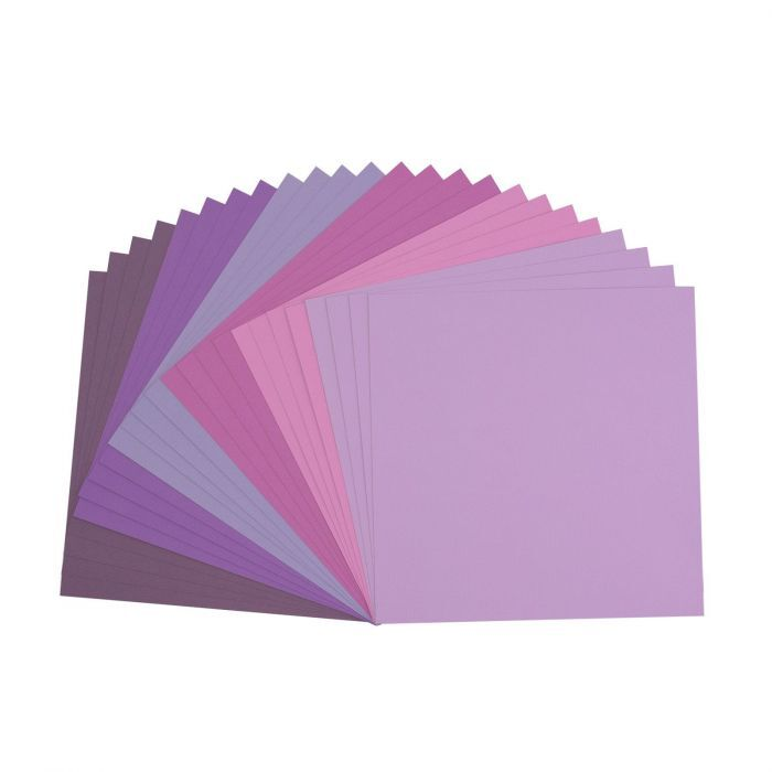 Florence Cardstock - Canvas Texture - Purple assortie (30,5 x 30,5 cm)