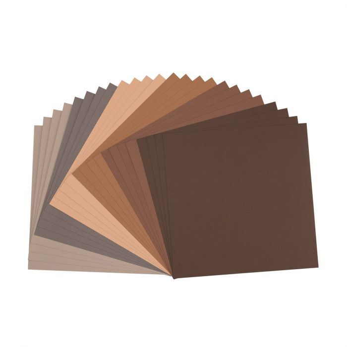Florence Cardstock - Canvas Texture - Brown assortie
